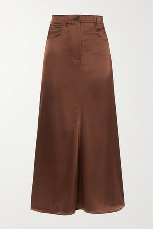 Magnolia Satin Midi Skirt - Brown