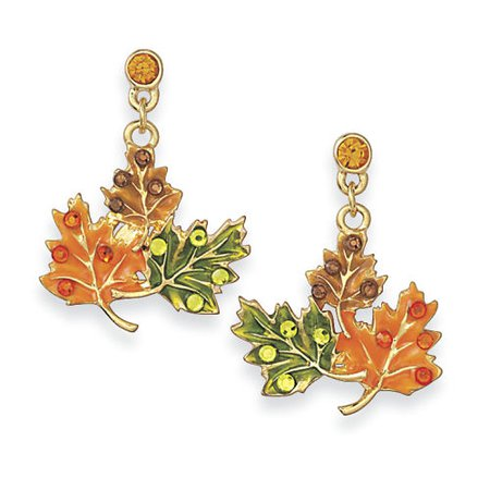 Enameled Goldplate Fall Wreath Post Earrings & Affordable Fashion Jewelry - Shop Now