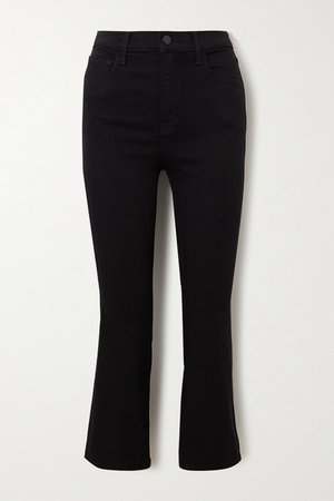 Franky Cropped High-rise Bootcut Jeans - Black