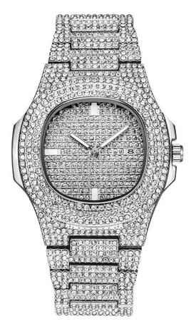 silver bling watch