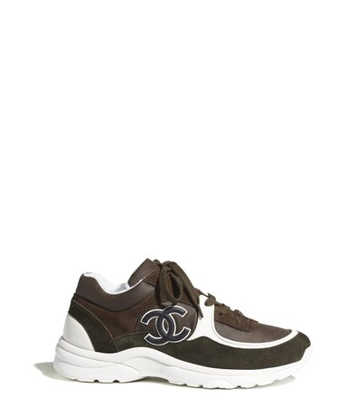 Sneakers, velvet calfskin & mixed fibers, green & brown - CHANEL
