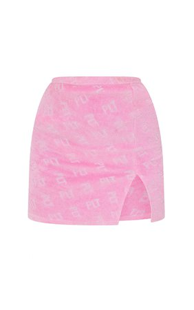 Prettylittlething Hot Pink Towelling Mini Skirt | PrettyLittleThing CA