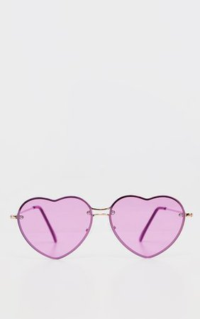 Purple Heart Shaped Sunglasses         | PrettyLittleThing