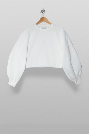White Cropped Sweatshirt | Topshop