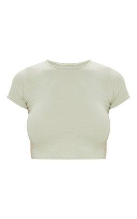 Sage Khaki Cotton Short Sleeve Crop Top | PrettyLittleThing
