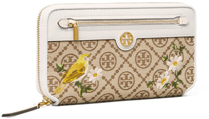 T Monogram Jacquard Embroidered Zip Continental Wallet