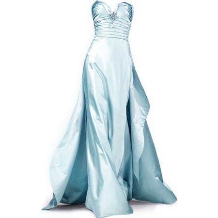 satin blue couture dress