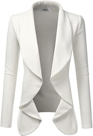 NINEXIS Womens Classic Draped Open Front Blazer Black L at Amazon Women's Clothing store
