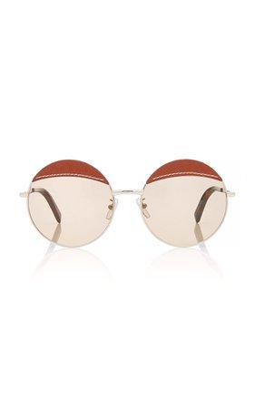 Loewe Sunglasses Round Leather-Trimmed Metal Sunglasses