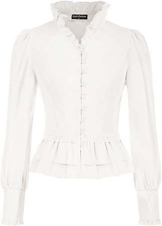 SCARLET DARKNESS Women Victorian Ruffled Blouse Vintage Long Sleeve Corset Top at Amazon Women's Clothing store