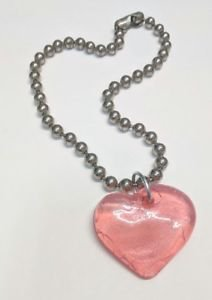 Vint. 90's Hot Topic BIG Grunge Punk Broken Heart Crackled Glitter Pink Necklace | eBay