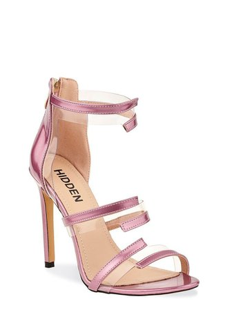 Pinterest Pink Holographic Perspex Open Toe Stiletto With Zip Fastening