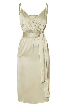 Sage Green Satin Tie Waist Midi Slip Dress | PrettyLittleThing