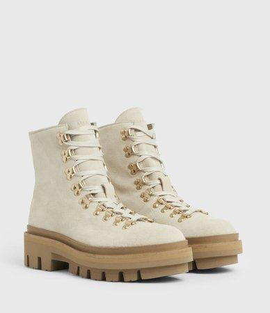 ALLSAINTS US: Womens Wanda Suede Boots (white)