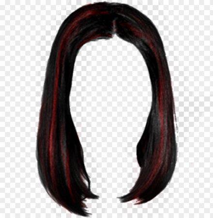 red highlight hair black