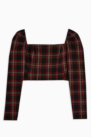 Black Tartan Long Sleeve Crop Blouse | Topshop