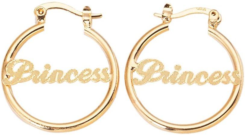"Amazon.com: 24K Gold Plated Circle Hoop Earrings Alphabet Nameplate""Princess"" Earring: Jewelry"