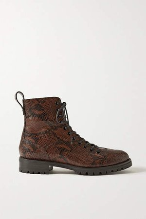 Kaia Gerber Cruz Snake-effect Leather Ankle Boots - Brown