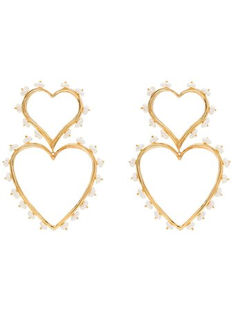 Joanna Laura Constantine Gold-Plated Pearl-Embellished Heart Earrings | Farfetch.com