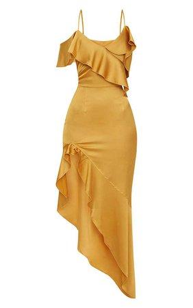 Mustard Satin Asymmetric Hem Maxi Dress | PrettyLittleThing