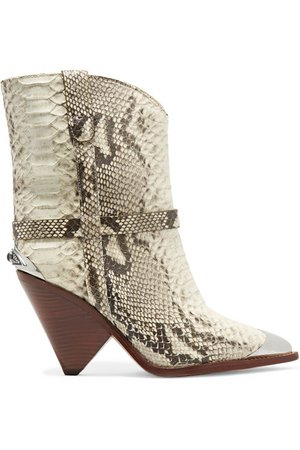 Isabel Marant | Lamsy embellished snake-effect leather ankle boots | NET-A-PORTER.COM