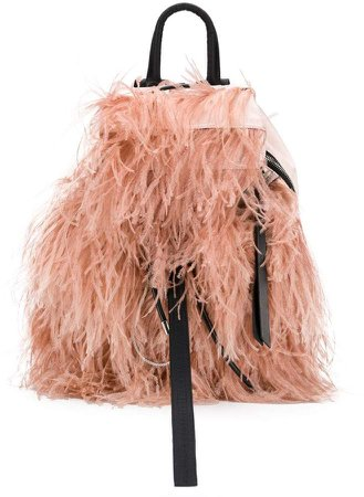 backpack with feathers