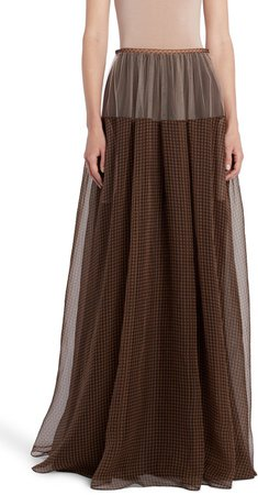 Check Silk & Tulle Maxi Skirt