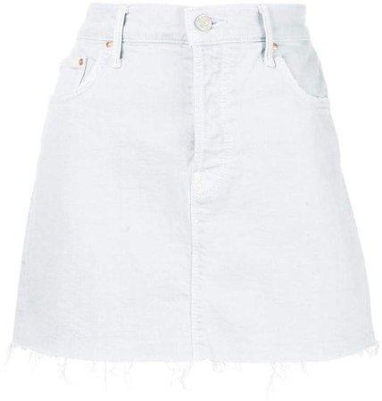 raw hem mini denim skirt