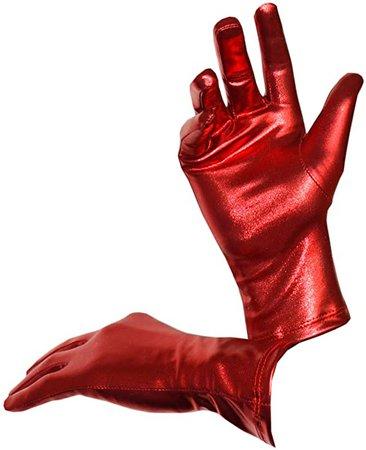 Seeksmile Costume Shiny Metallic Gloves Red
