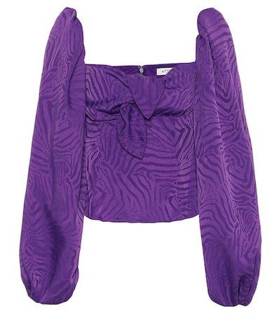 Silk-blend jacquard blouse
