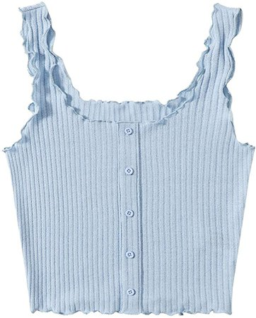 SweatyRocks Women's Sleeveless Vest Button Front Crop Tank Top Ribbed Knit Belly Shirt at Amazon Women's Clothing store