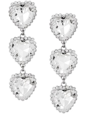 Alessandra Rich crystal triple heart earrings $614 - Buy Online SS19 - Quick Shipping, Price