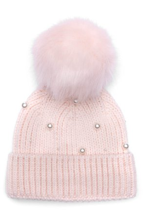 Eugenia Kim Myrna Imitation Pearl Embellished Beanie with Faux Fur Pom | Nordstrom