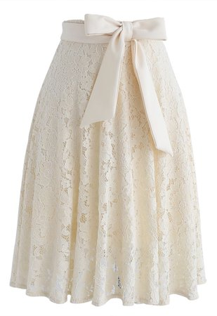 Chic Wish Come to Me Bowknot Lace A-Line Skirt - Retro, Indie and Unique Fashion