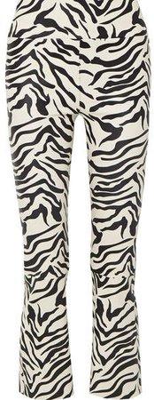 Cropped Zebra-print Leather Flared Pants - Zebra print