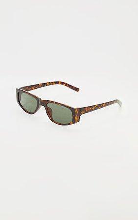 Brown Tortoise Slimline Squareframe Sunglasses | PrettyLittleThing
