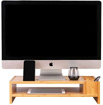 Amazon.com : 2-Tier Bamboo Monitor Stand, Compact Monitor Riser, Computer Desk Organizer, Office Desktop and Laptop Wooden Shelf by Olive Oak : Office Products