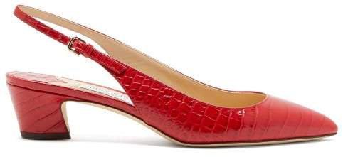 Gemma 40 Crocodile-effect Leather Slingback Pumps - Womens - Red