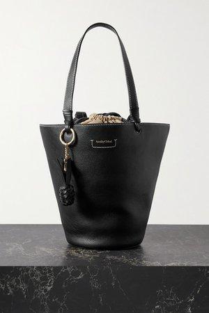 Cecilya Medium Textured-leather Bucket Bag - Black