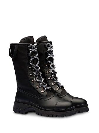 Prada Bi-Material Lace-Up Boots 1U593LF0303KY9 Black | Farfetch