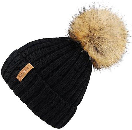 Amazon.com: Kids Winter Knitted Pom Beanie Bobble Hat Cotton Lined Faux Fur Ball Pom Pom Cap Unisex Kids Beanie Hat: Clothing