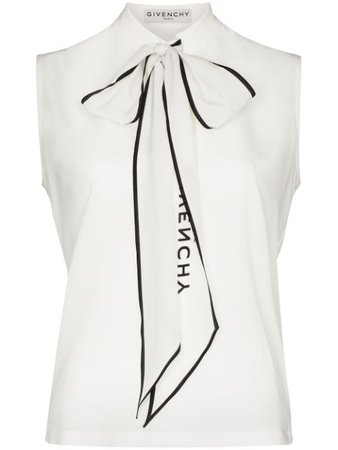 Givenchy logo-print pussy-bow Blouse - Farfetch