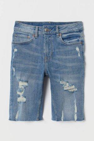 Knee-length Denim Shorts - Blue