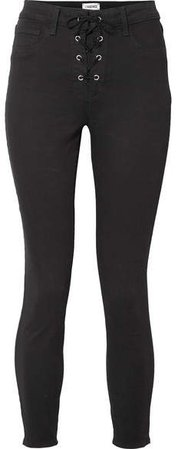 The Cherie Lace-up High-rise Skinny Jeans - Black