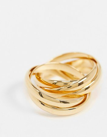 Orelia interlocking russian rings in gold plate | ASOS