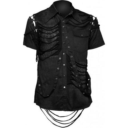 Gothic clothes shop: men's button-down shirt, black