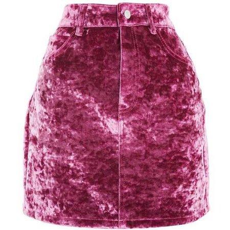 TOPSHOP Moto Bonded Velvet Skirt