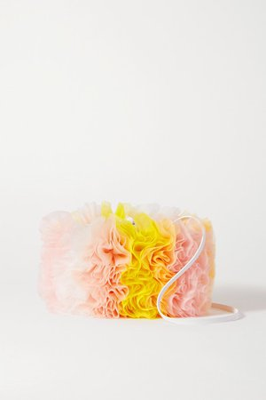 Tomo Koizumi X Emilio Pucci - Leather-trimmed Ruffled Tulle Shoulder Bag - Yellow