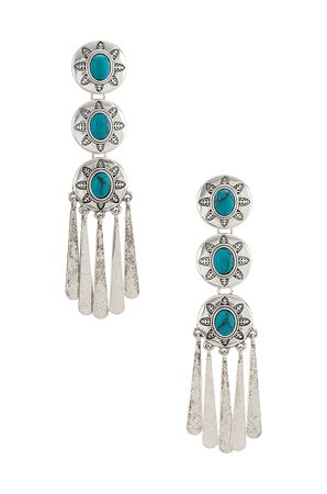 Ettika Turquoise Drop Earrings in Silver | REVOLVE