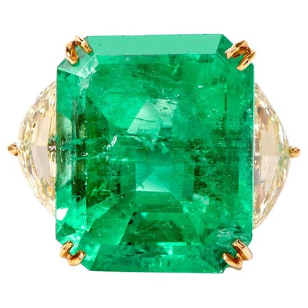 Three-Stone Emerald 24.07ct and Diamond 18 Karat Platinum Ring